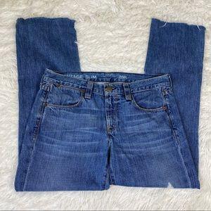 J. Crew Vintage Slim Broken-in Boyfriend Blue Jeans Chewed Hem Distressed Sz 28